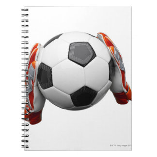 Two goal keepers gloves holding a football notebook
