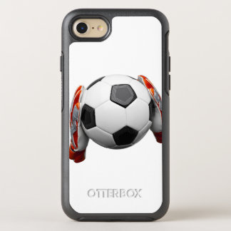Two goal keepers gloves holding a football OtterBox symmetry iPhone 8/7 case