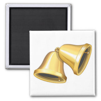 Two Gold Bells Square Magnet