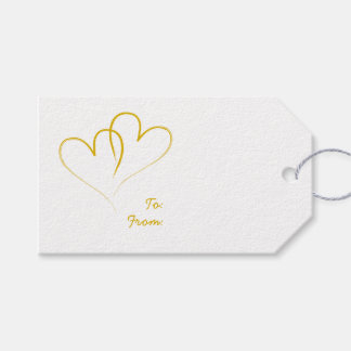 Two Gold Hearts intertwined Gift Tags