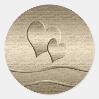 Two gold Hearts Round Sticker