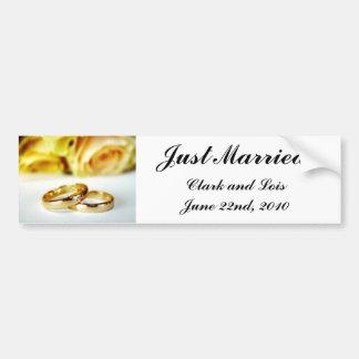 Two Gold Wedding Rings Car Bumper Sticker