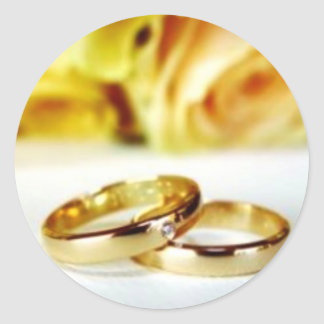 Two Gold Wedding Rings Round Stickers