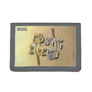 Two Golden And Silver Roses With Shadows Tri-fold Wallet