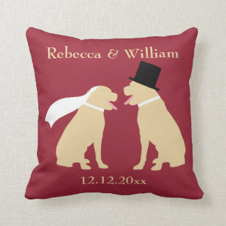 Two Golden Labradors Personalized Wedding Cushion