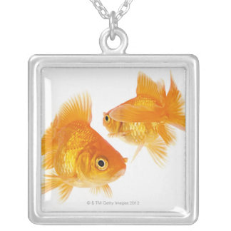 Two Goldfish Crossing Each Other Silver Plated Necklace