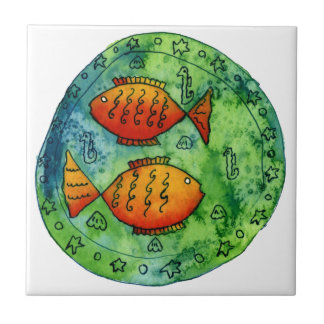 Two Goldfish in the Sea Small Square Tile
