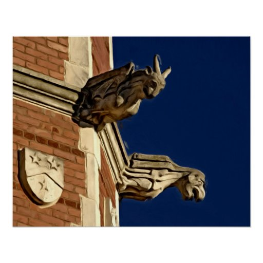 Two Gothic Gargoyles on Tower Posters