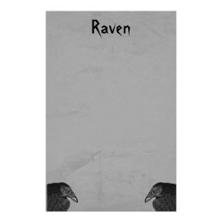 Two Gothic Type Black Raven Illustrations on Gray Stationery