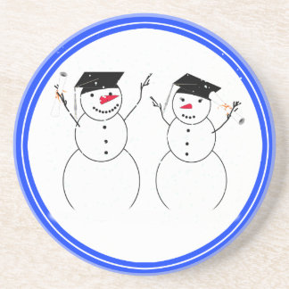 Two Graduating Snowmen Beverage Coaster