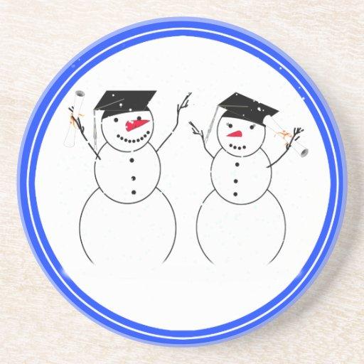Two Graduating Snowmen Drink Coaster
