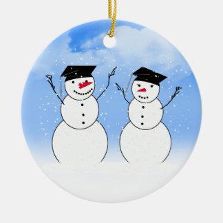 Two Graduating Snowmen Round Ceramic Decoration