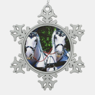 Two Gray Percherons Pewter Snowflake Decoration