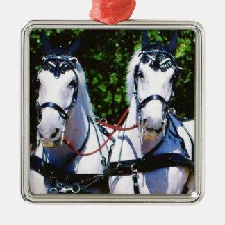 Two Gray Percherons Silver-Colored Square Decoration