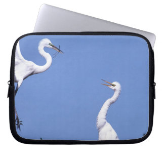 Two Great Egrets (Ardea alba) in a courtship Laptop Sleeve