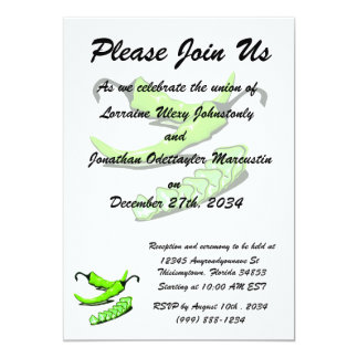 Two Green Chili peppers one cut up 13 Cm X 18 Cm Invitation Card