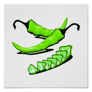 Two Green Chili peppers one cut up Print