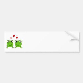 Two green frogs with red hearts. bumper sticker