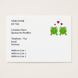 Two green frogs with red hearts. business card