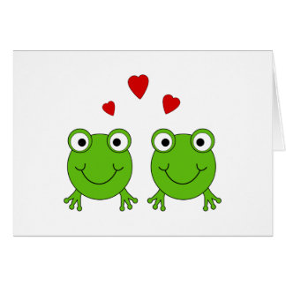Two green frogs with red hearts. greeting card
