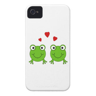 Two green frogs with red hearts. iPhone 4 case