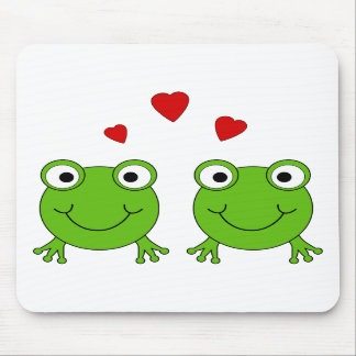 Two green frogs with red hearts. mouse pad