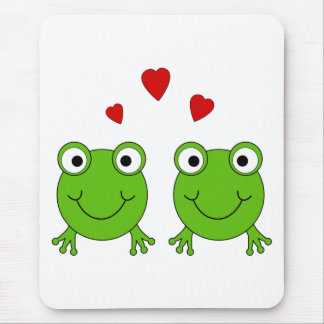 Two green frogs with red hearts mouse pad