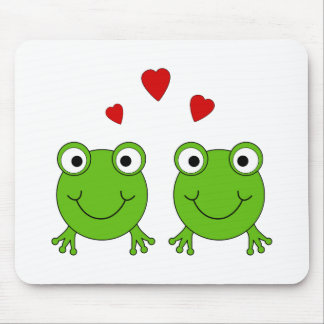 Two green frogs with red hearts mousepads