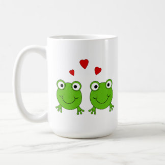 Two green frogs with red hearts mugs