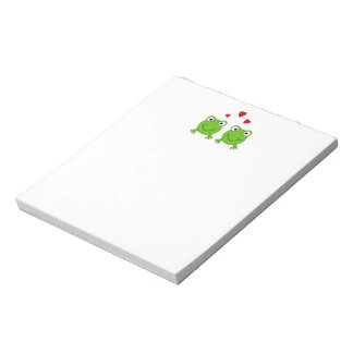 Two green frogs with red hearts. notepad