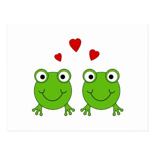 Two green frogs with red hearts. post card