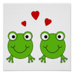 Two green frogs with red hearts. posters