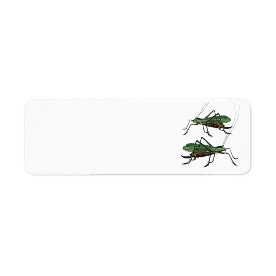 Two Green Grasshoppers / Katydids Return Address Label