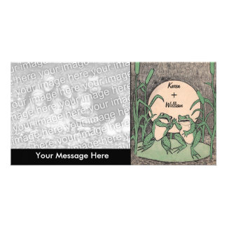 Two Green Love Frogs Personalized Photo Card