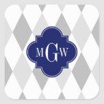 Two Grey Wht Harlequin Navy 3 Initial Monogram