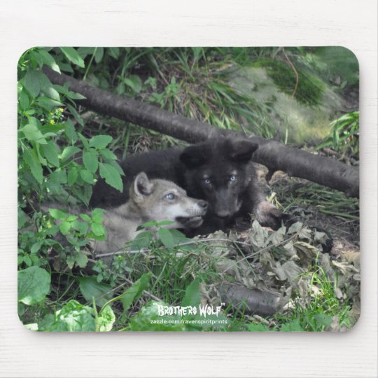 Two Grey Wolf Pups Playing Wildlife Nature Photo Mouse Mat