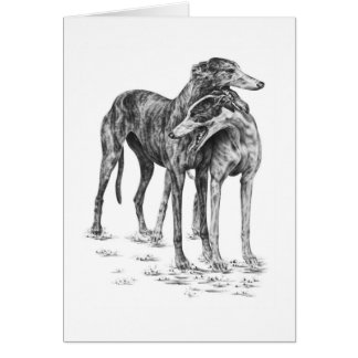 Two Greyhound Dogs Drawing by Kelli Swan Note Card