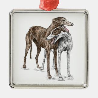 Two Greyhound Friends Dog Art Christmas Ornament