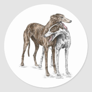 Two Greyhound Friends Dog Art Classic Round Sticker