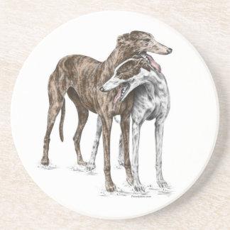 Two Greyhound Friends Dog Art Coaster