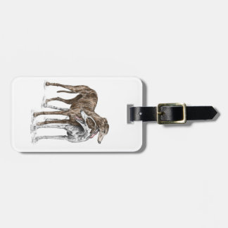 Two Greyhound Friends Dog Art Luggage Tag