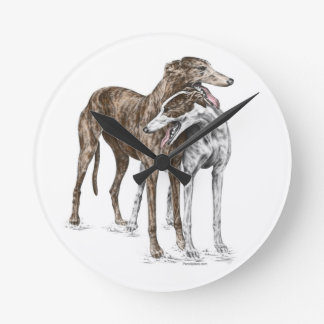 Two Greyhound Friends Dog Art Round Clock