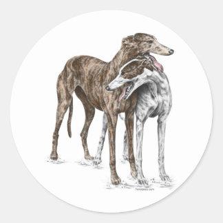 Two Greyhound Friends Dog Art Round Sticker