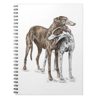 Two Greyhound Friends Dog Art Spiral Note Book