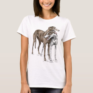 Two Greyhound Friends Dog Art T-Shirt