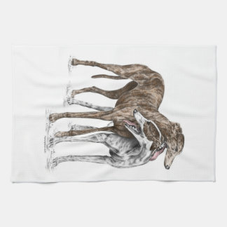 Two Greyhound Friends Dog Art Tea Towel