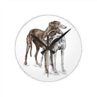 Two Greyhound Friends Dog Art Wall Clock