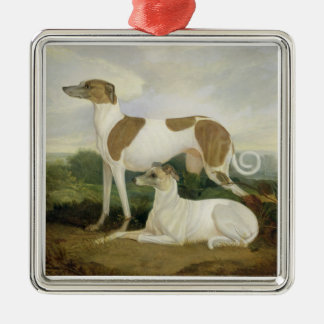 Two Greyhounds in a Landscape (oil on canvas) Christmas Ornament