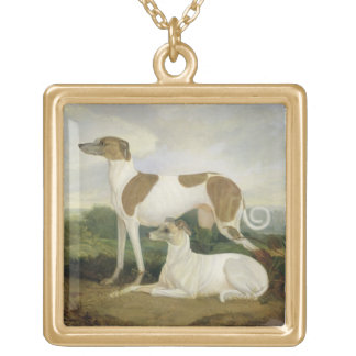 Two Greyhounds in a Landscape (oil on canvas) Gold Plated Necklace