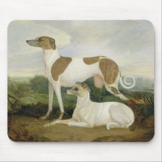 Two Greyhounds in a Landscape (oil on canvas) Mouse Mat